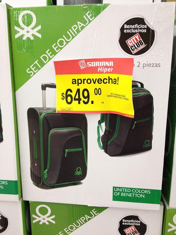 set de equipaje benetton (maleta y backpack) en $649 en