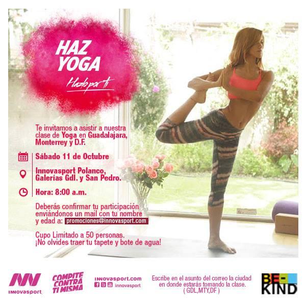 Clase de yoga gratis en Innovasport en DF 623a172d9126