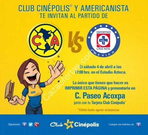 Boletos gratis para el am rica vs cruz azul con club cin polis for Cinepolis paseo acoxpa