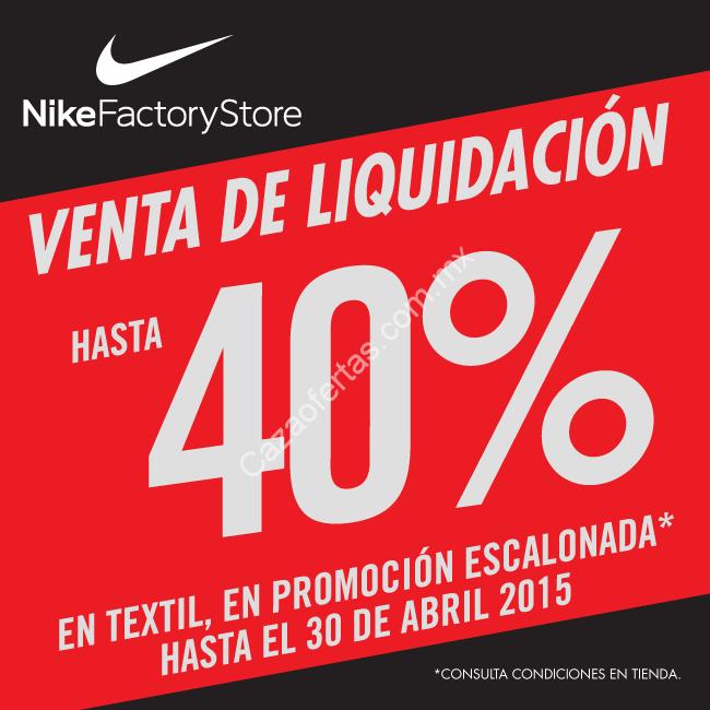Chapoteo Escarpa anunciar  Venta de Liquidación de hasta 40% de descuento en Textil dentro de Nike  factory Outlet Guadalajara