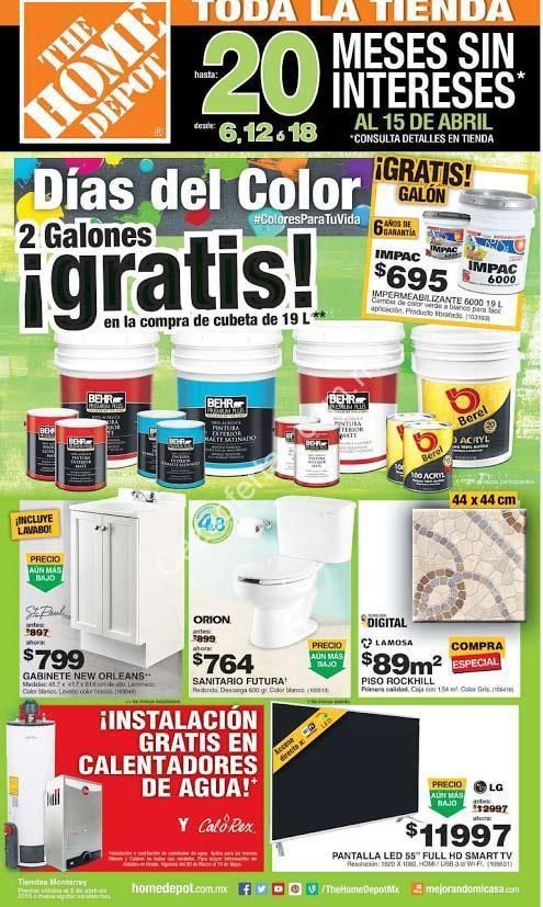 Promociones d as del color en the home depot 2 galones de for Home depot de