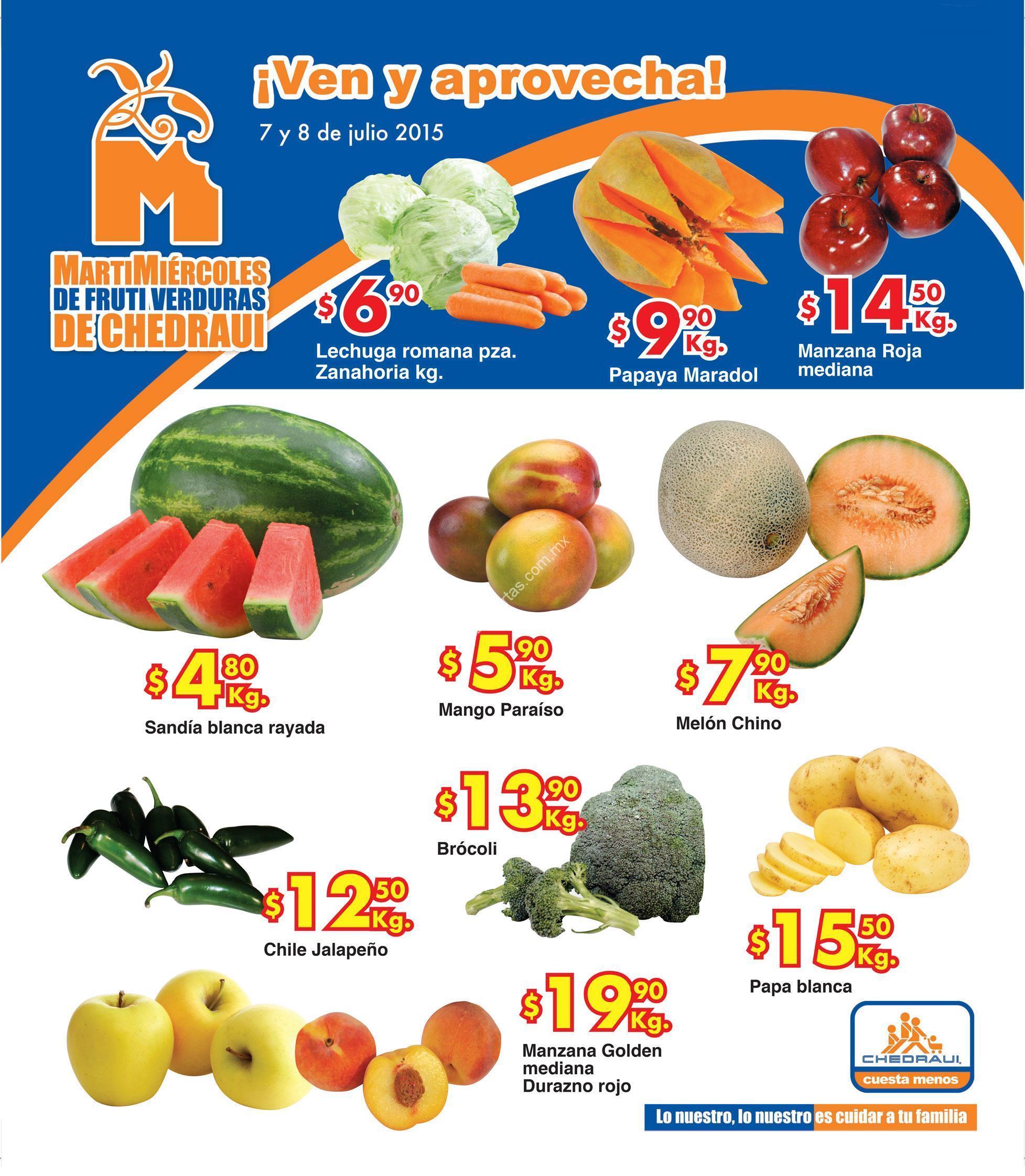 Folleto Chedraui de frutas y verduras 7 y 8 de julio