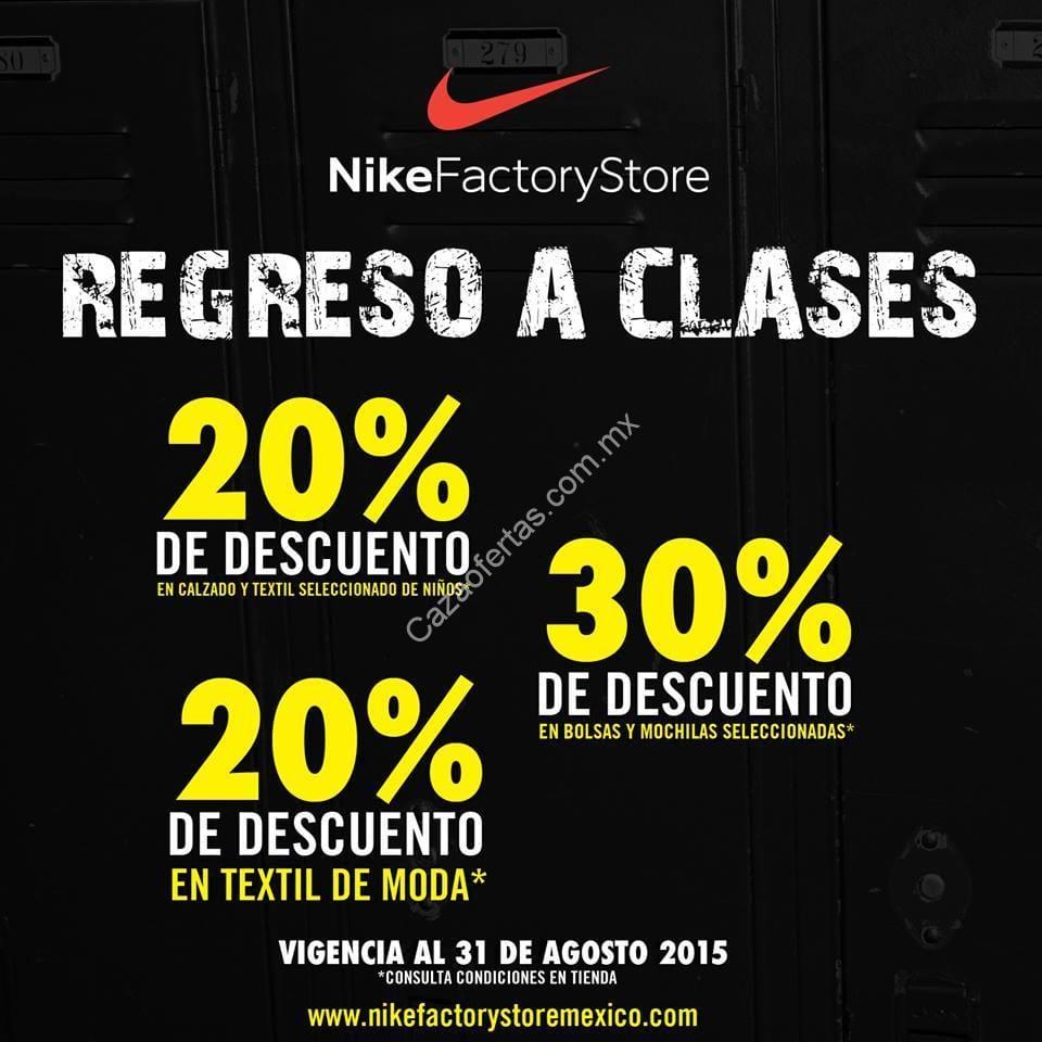 652cbe66c07ac Promociones regreso a clases de la Nike Factory Store  Hasta 30% de  descuento en mercancía seleccionada