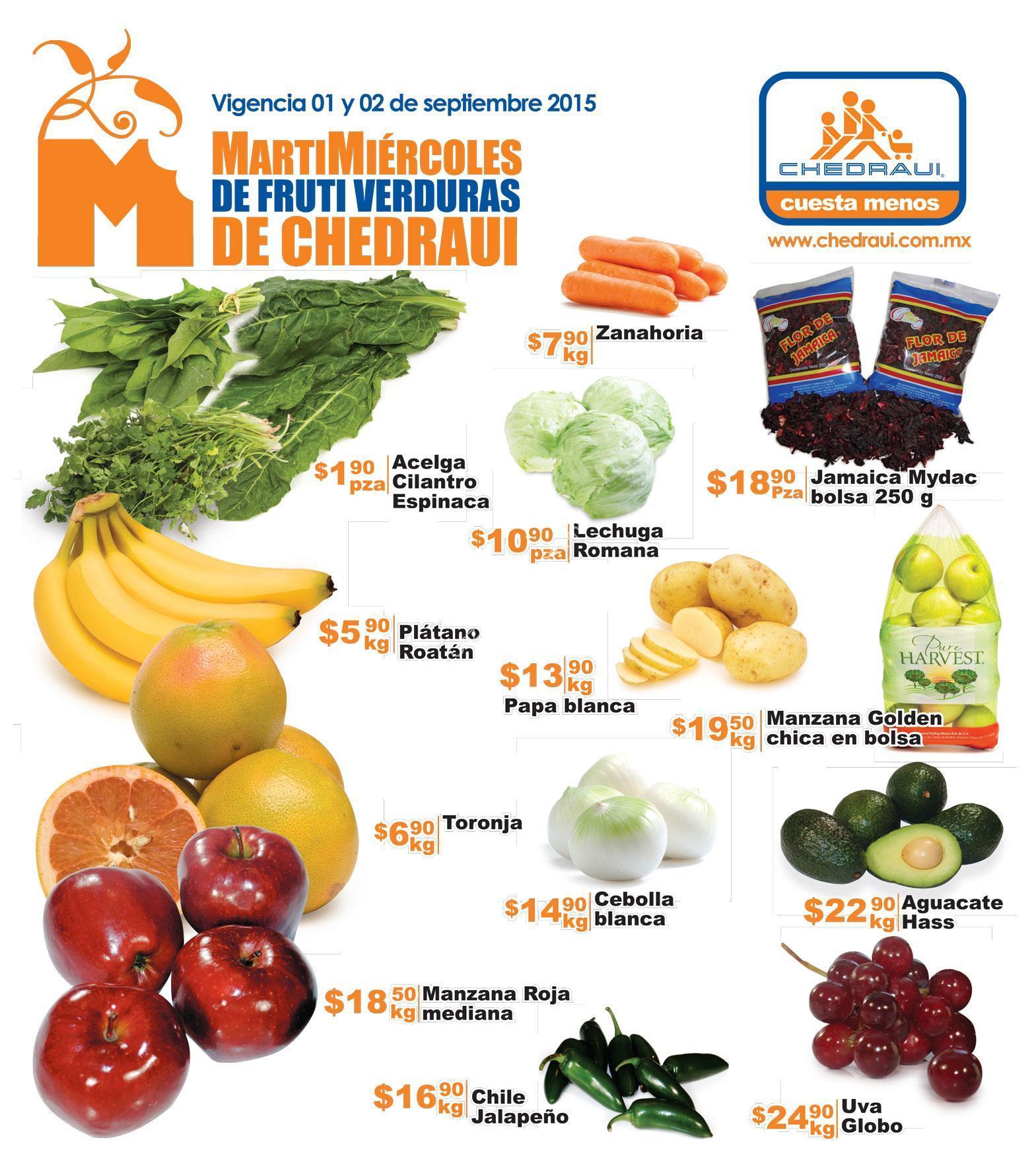 ofertas chedraui en frutas y verduras 1 y 2 de septiembre ofertas