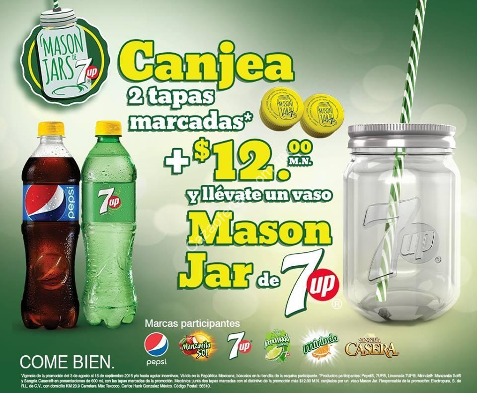 Promoción 7Up Mason Jars: Canjea 2 taparroscas de