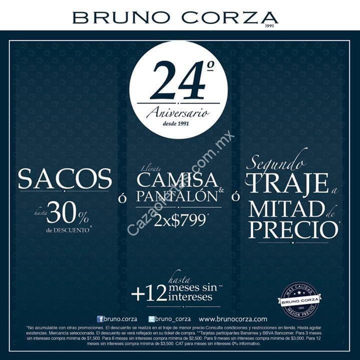 Promociones 24 aniversario de Bruno Corza  30% de descuento en sacos y  trajes a 2X1 1 2 6fee74e90e4f