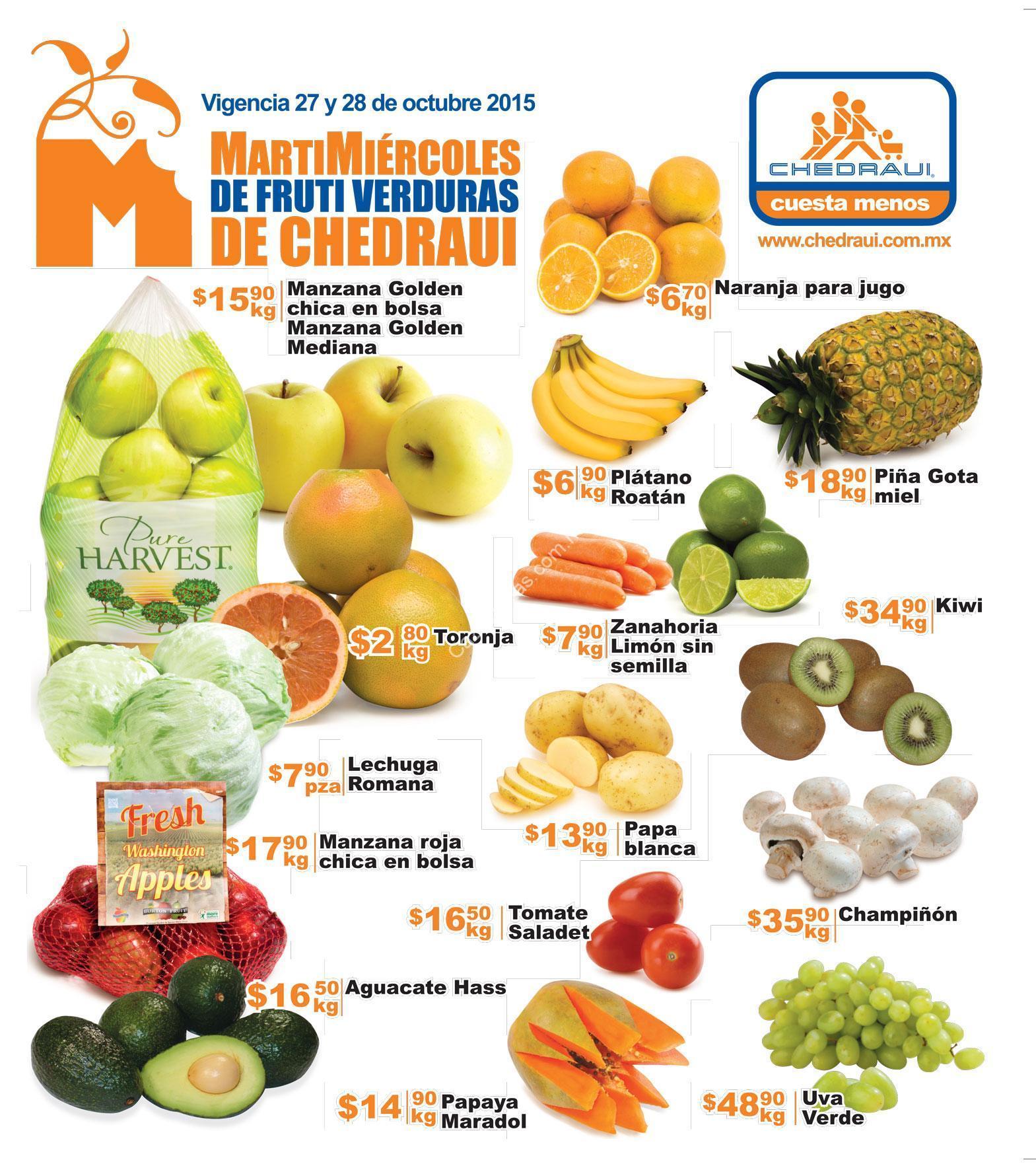 Ofertas Chedraui en frutas y verduras 27 y 28 de octubre
