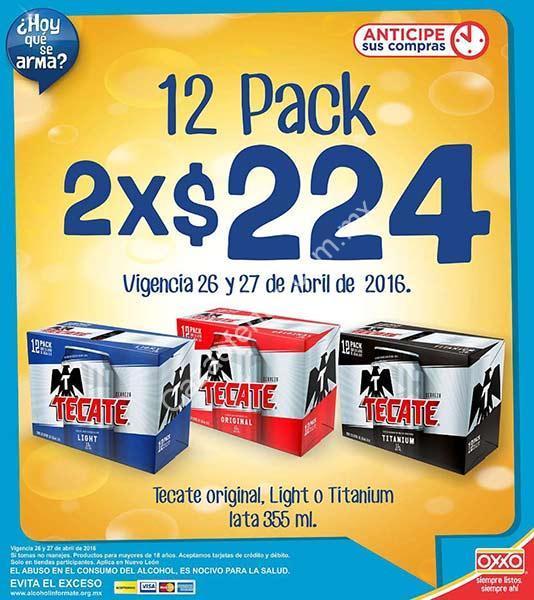 En Oxxo 2 doce pack de Tecate por $224 (incluye Tecate ...