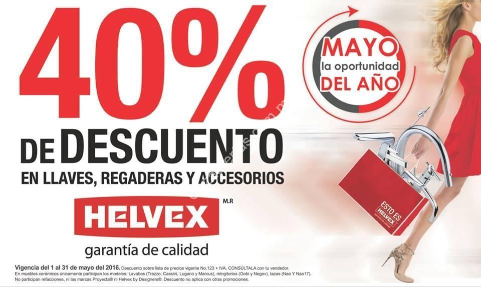 En helvex 40 de descuento durante mayo aplica en llaves for Llaves regadera helvex
