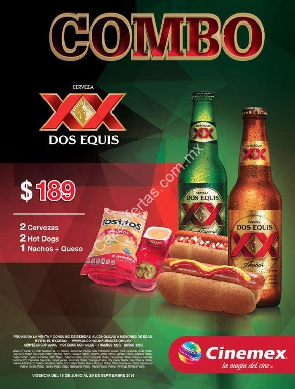 Combo Cerveza Dos Equis Cinemex: 2 cervezas + 2 hot dogs