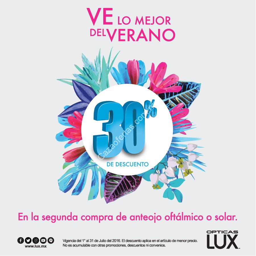 9f21ea34e5 Promo de verano ópticas Lux: 30% de descuento en el segundo lente