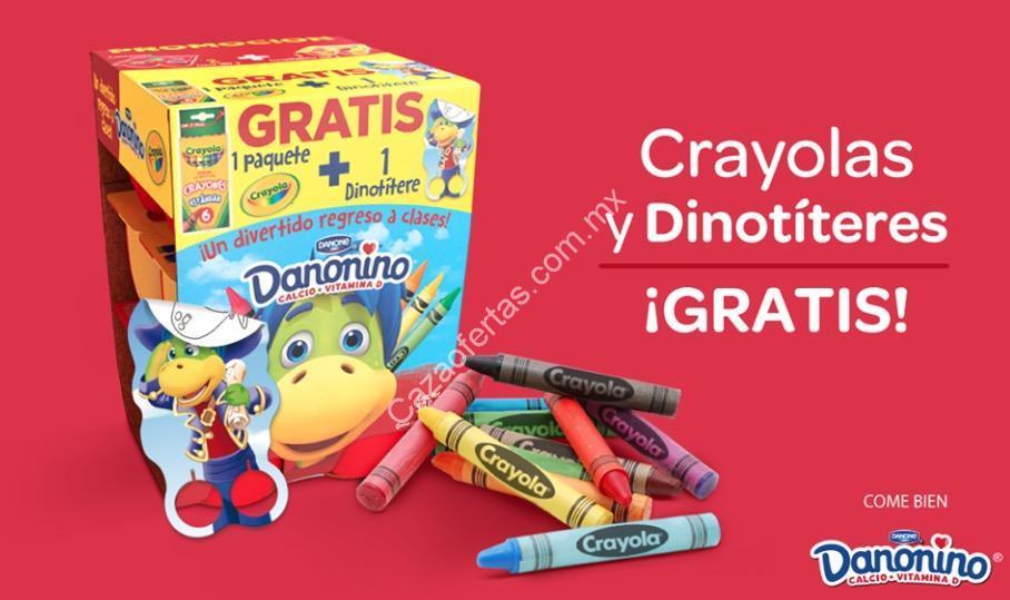 En productos Danonino crayolas y dinotíteres gratis