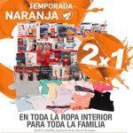 Ofertas Temporada Naranja (antes Julio Regalado 2016): 2×1 en ropa interior