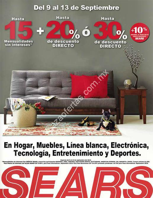 En Sears hasta 30% de descuento en muebles, hogar, línea blanca ...