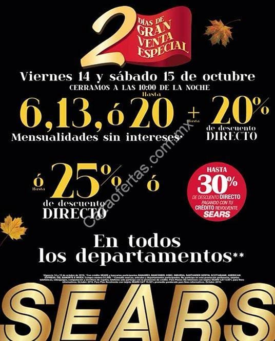 e2fa9b8cc Venta Especial Sears 14 y 15 de octubre  hasta 25% de descuento en todos  los departamentos