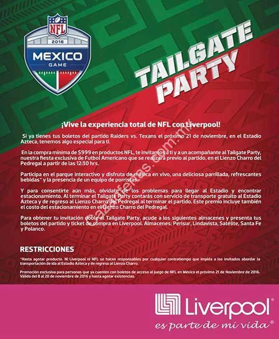 ff88ee1dc4552 Promoción Liverpool NFL México  entrada gratis al Tailgate Party en el  Lienzo Charro al comprar  999 en productos NFL