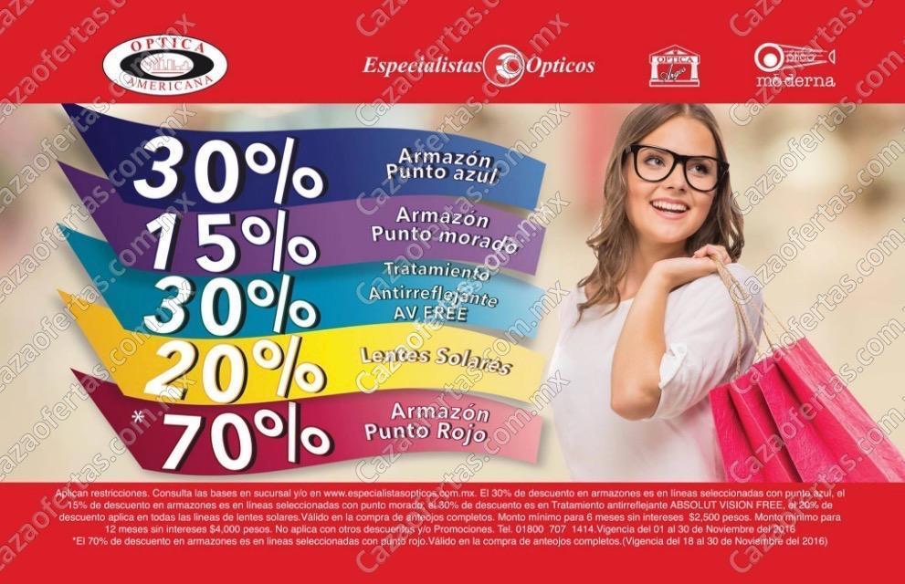 Ofertas Especialistas Ópticos y Óptica Americana El Buen Fin 2016  Hasta  70% de descuento b009e63f58
