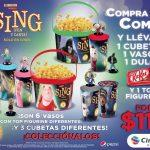 Combo Sing Cinemex con vasos, cubetas y figurines de colección