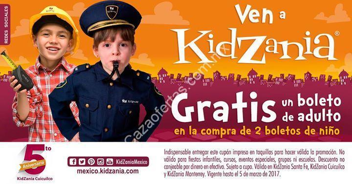 Cupón Kidzania de entrada gratis para adulto comprando 2 boletos de niño