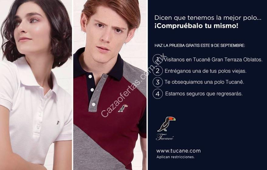 Promoción Tucanê Gran Terraza Oblatos Camisa Polo Gratis