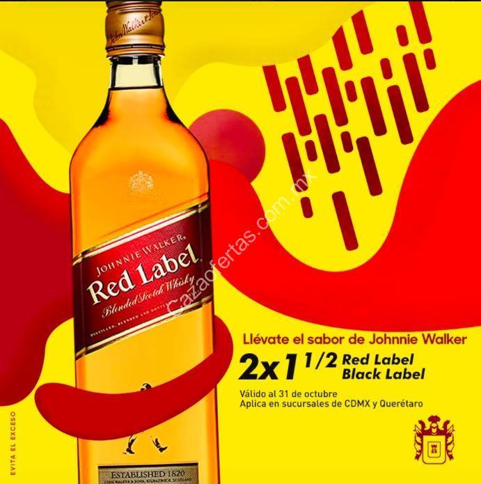 2×1½ En Whisky Johnnie Walker Red Label En Vinaterías La