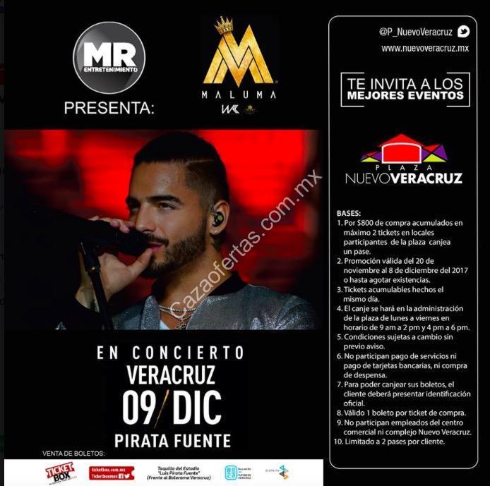 Boletos gratis para el concierto de maluma en veracruz con for Cuanto cuestan las albercas en walmart