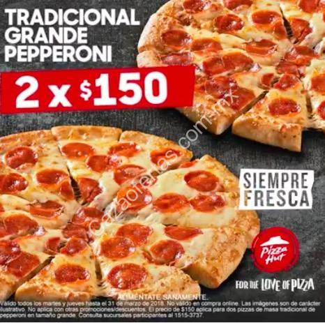 Promoci n pizza hut 2 pizzas grandes de pepperoni a 150 for Oficinas de pizza hut