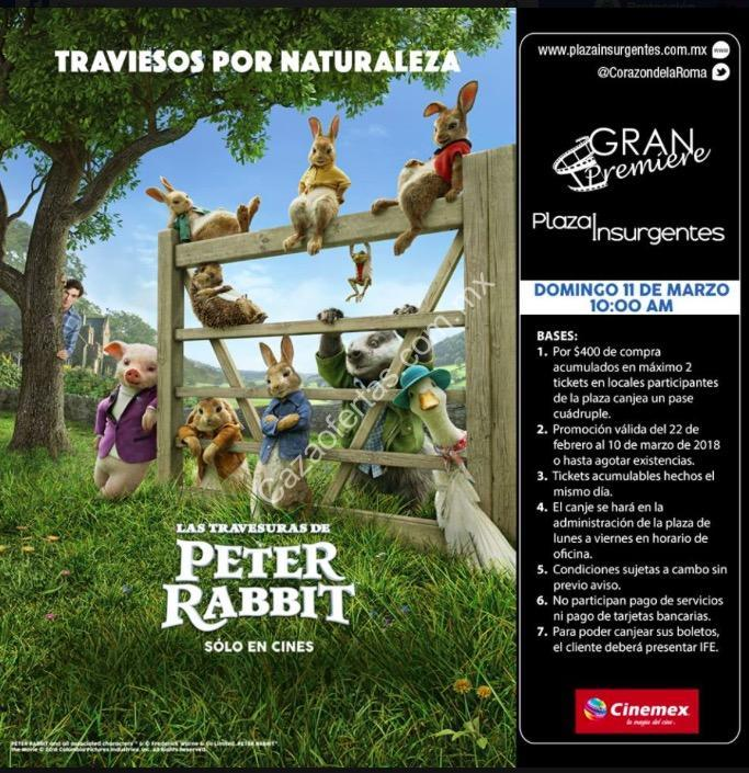 Pase cu druple para la pel cula las aventuras de peter for Cartelera cinepolis cd jardin