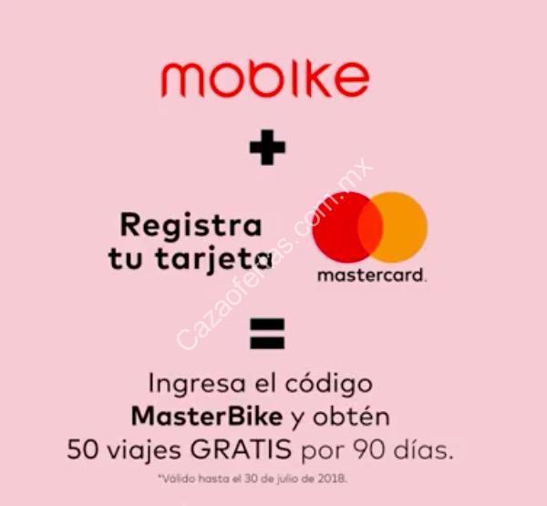 C Digo Mastercard Mobike 50 Viajes Gratis Por 90 D As Al Registrar Tu Mastercard