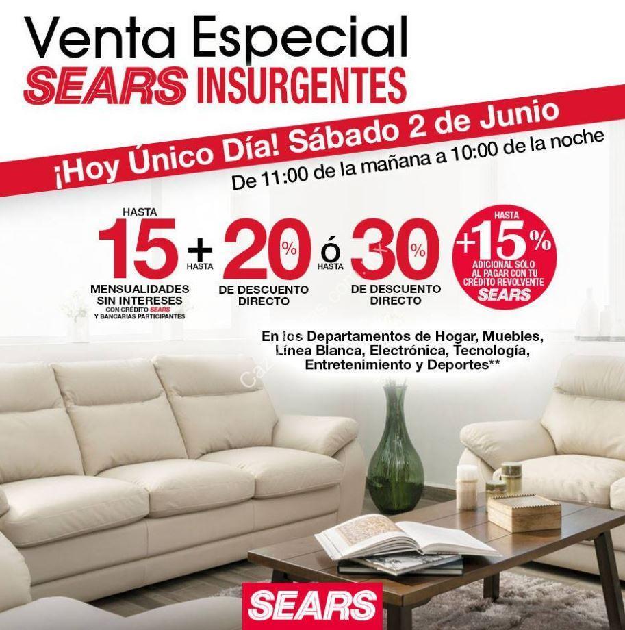 0b930b129 Venta Especial Sears Insurgentes  Hasta 30% de descuento ó 20% + 15 msi hoy  2 de junio