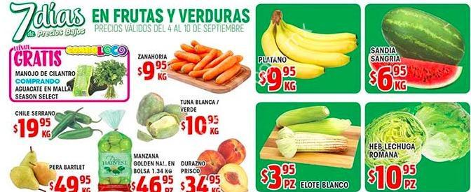 ofertas heb en frutas y verduras 7 días de precios bajos del 4 al 10