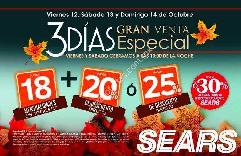 4c5ea3e1f Venta Especial Sears del 12 al 14 de octubre  Hasta 25% de descuento ó 20%  + hasta 18 msi