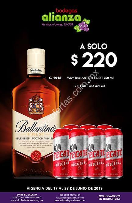 Promoción Bodegas Alianza De Whisky Ballentines 7 Cervezas Tecate