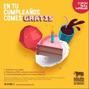 Sirloin Stockade en tu cumpleaños come gratis 2020: Cupón para comer gratis el día de tu cumpleaños