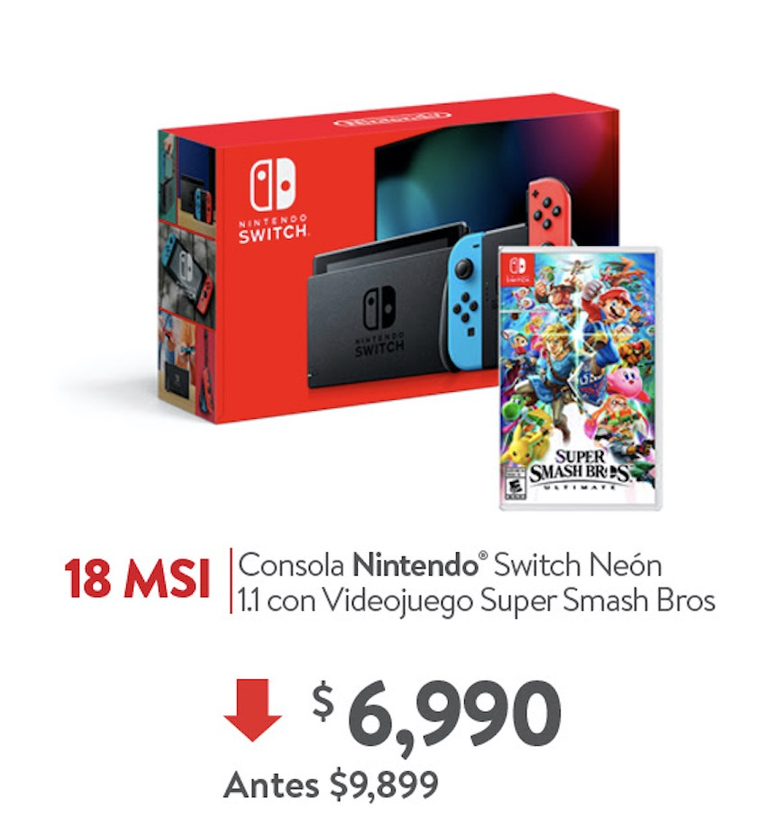 En Walmart Nintendo Switch Neon Juego Super Smash Bros