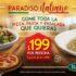Promoción Italiannis toda la pizza, pasta y ensalada que quieras por $199
