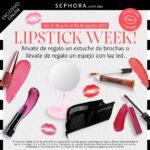 Promociones lipstick week Sephora: estuche de brochas o espejo de luz led de regalo con compra mínima