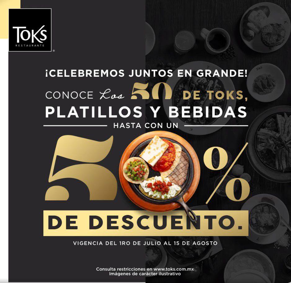 Toks 50 Aniversario: hasta 50% de descuento en 50 platillos y bebidas